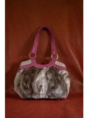 hyljelaukku luonnonvärinen pinkki-harmaa nappanahka